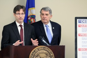 Sen. Kent Eken (DFL - Twin Valley) and Rep. Jerry Newton (DFL - Coon Rapids) announce the Dedication Amendment.