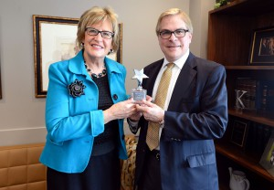 Sen. Kathy Sheran (DFL-Mankato) and Bob Bonar, CEO of Children's Hospitals and Clinics of Minnesota