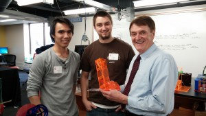 Century College engineering students David Vojta of Shoreview and Alex Leba of Stillwater appreciate how the transformed Fab Lab enhances their program.