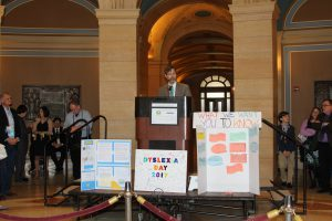 Senator Kent Eken speaks during Dyslexia Day on the Hill.