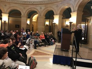 Senator Chris Eaton joined a bipartisan group of lawmakers, Attorney General Lori Swanson, doctors, law enforcement, and people affected by opioid addiction on Jan. 22 to unveil the Opioid Reform Act.