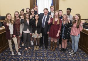 Sen. Chuck Wiger and White Bear Lake students at the Capitol. Go Bears!