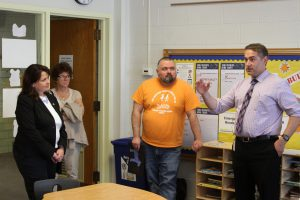 Senator Susan Kent listens in to principal Ryan Vernosh during a recent visit to Maxfield Elementary.