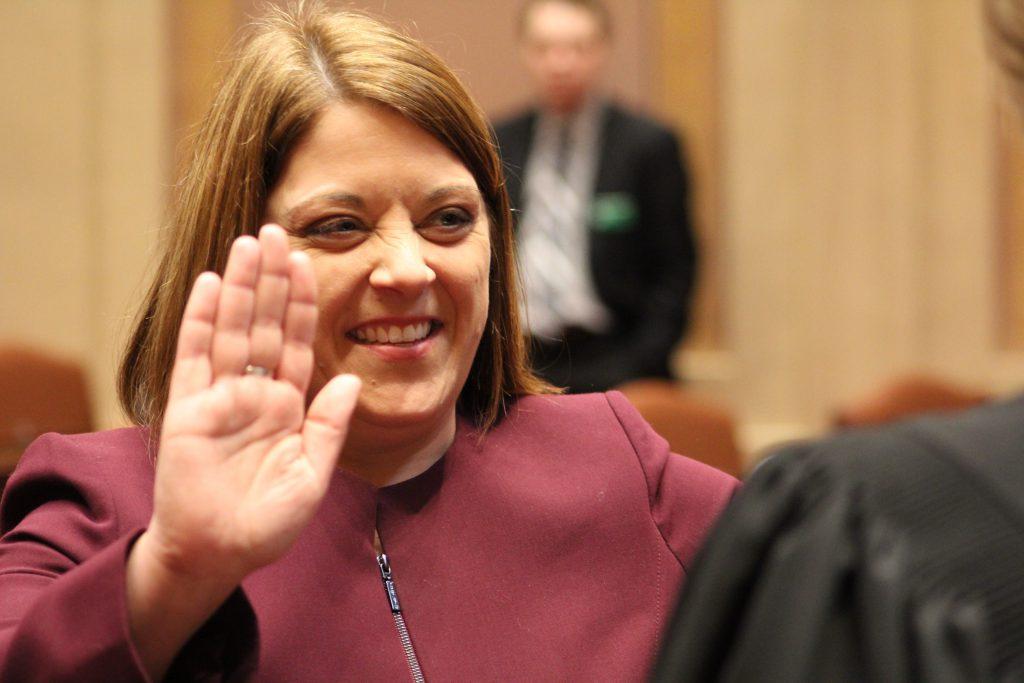 Karla Bigham is sworn in as state senator.