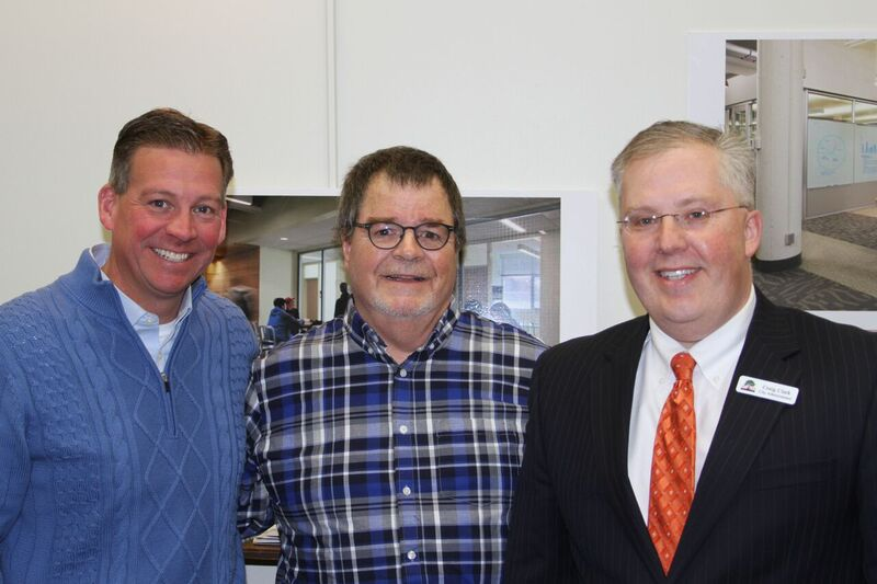 Sen. Dan Sparks stands with Austin Mayor Tom Stiehm and City Administrator Craig Clark during a recent bonding tour.