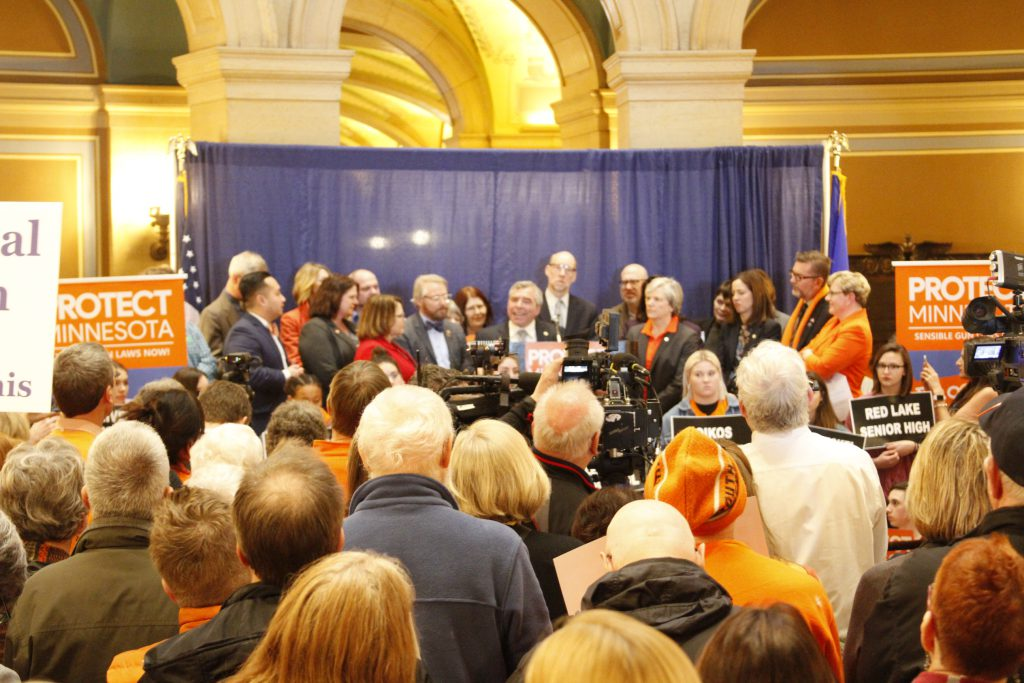 Senator Steve Cwodzinski speaks during a rally to save lives by reducing gun violence