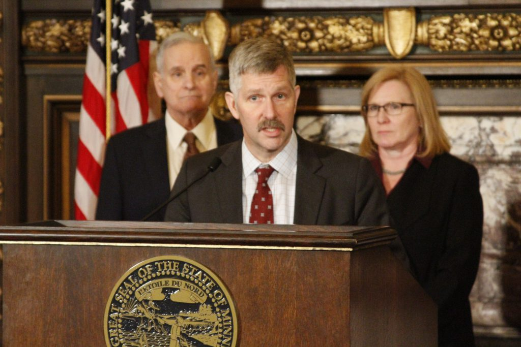 Senator Tony Lourey speaks on his legislative proposal to protect seniors in Minnesota
