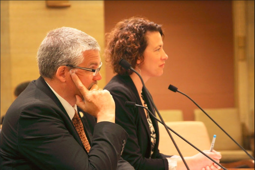 Sen. Erik Simonson and Mayor Emily Larson testify on Duluth's sales tax boost to repair the city's streets.