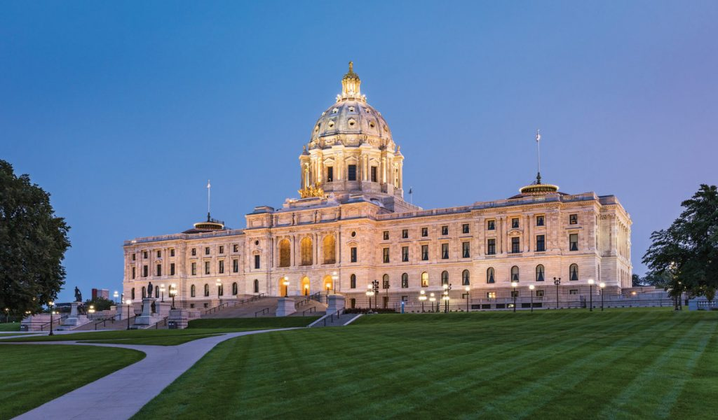 Minnesota State Capitol building at dusk